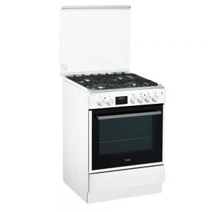 Aragaz mixt Whirlpool ACMT 6332/WH, 4 arzatoare, Cuptor electric, Grill, 60 cm
