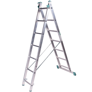 Scara aluminiu universala Alverosal, 2 tronsoane, 9 trepte, inaltime maxima de lucru 5 m