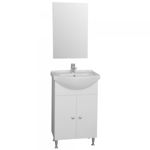 Set mobilier baie Badenmob Eco 55, masca + lavoar + oglinda, alb