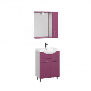 Set mobila baie Badenmob Seria 153, PAL + MDF, baza, lavoar, oglinda, violet, 55 cm