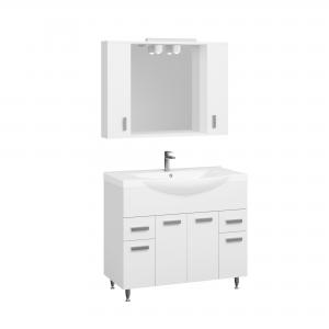 Set Mobila baie Badenmob Seria 169, PAL + MDF, baza, lavoar, oglinda, alb,  100 cm