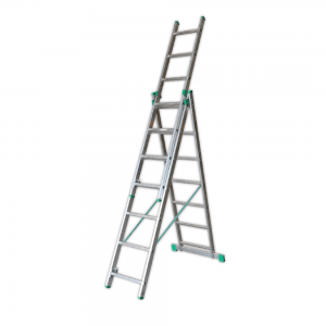 Scara aluminiu Helper Economic, cu urcare pe 3 tronsoane, 3 x 7 trepte, inaltime de lucru 5 m