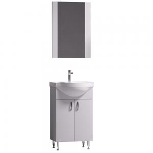 Set mobilier baie Badenmob Eco 51, masca + lavoar + oglinda, alb