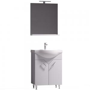 Set mobilier baie Badenmob Sirius 60, masca + lavoar + oglinda cu polita si iluminare, alb