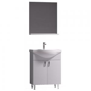 Set mobilier baie Badenmob Eco 60, masca + lavoar + oglinda cu polita, alb