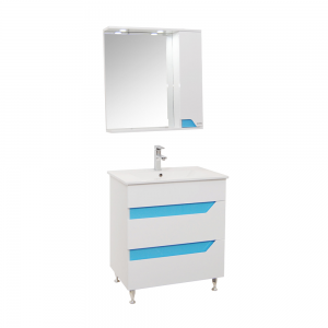 Set mobilier baie Badenmob Seria 022 - 70, masca + lavoar + oglinda, albastru
