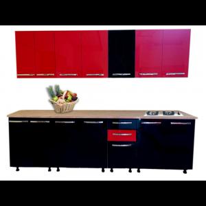 Mobilier pentru bucatarie Stendhal, negru lucios si rosu lucios, 2,6 m