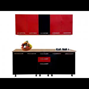 Mobilier pentru bucatarie Stendhal, negru lucios si rosu lucios, 2 m